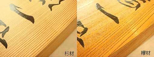 手書きの欅と杉材の表札
