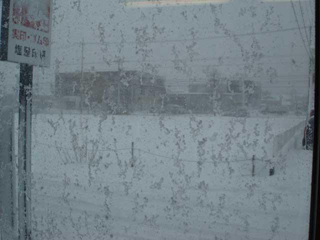 店頭の雪景色